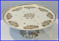 Vintage Hand Painted Gold Rose Porcelaine De France 11 Pedestal Cake Plate Rare