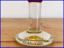 Vintage Hand-blown Two Tone Glass Cake Stand Amber Plate Clear Pedestal Signed