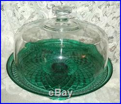 Vintage Heavy Clear Glass Dome Covered Green Pedestal Cake Plate Stand Platter