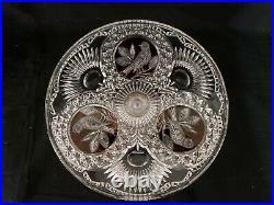 Vintage Hofbauer Byrdes Birds Ruby Red Crystal 12 Pedestal Cake Stand Plate