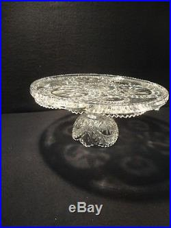 Vintage Hofbauer Byrdes Crystal Collection Footed Cake Plate Pedestal Birds