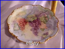 Vintage Hutschenreuther 13 Pedestal Cake Plate Tazza Hand Painted Grapes Sign