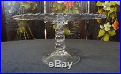 Vintage IMPERIAL Glass CANDLEWICK 3 Bead High ETCHED CAKE STAND / Pedestal Plate