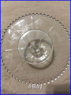Vintage IMPERIAL Glass CANDLEWICK ETCHED CAKE STAND / Pedestal Plate