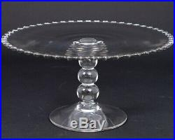 Vintage Imperial Candlewick Clear Glass Cake Pedestal Plate Stand 11.25