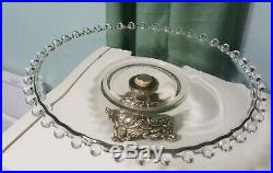 Vintage Imperial Candlewick clear glass Beaded Rim 10 Pedestal Cake Stand Plate