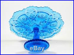 Vintage Imperial Glass IG Daisy Button Pedestal Cake Plate