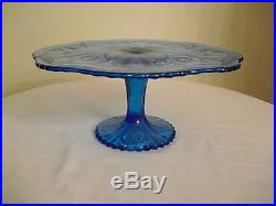 Vintage Imperial Glass Ig Daisy & Button Blue Pedestal Cake Plate Rare Gorgeous