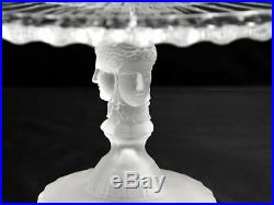 Vintage Imperial MMA 3 Three Face Clear Glass Pedestal Cake Stand Plate 12