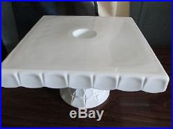 Vintage Indiana Glass, Milk Glass Square Pedestal Cake Plate