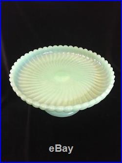 Vintage Jadeite Jadite Cake Plate Stand Display Shell Swirl Pattern Pedestal