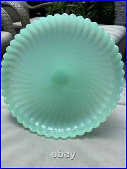 Vintage Jadeite Swirl Pedestal Cake Plate Stand RARE Hard To Find Piece