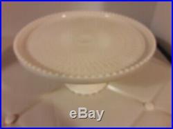 Vintage Jeanette Glass Pink Milk Glass Cake Plate Pedestal 10