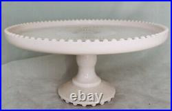 Vintage Jeanette Shell Pink Milk Glass 10 Pedestal Cake Plate Stand Beaded Edge