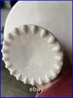 Vintage Jeanette Shell Pink Milk Glass Pedestal Cake Plate Stand Beaded Edge 10