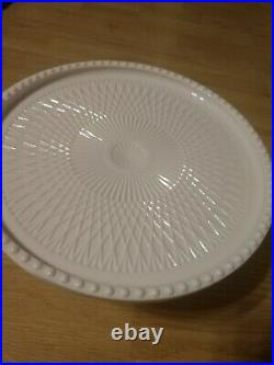 Vintage Jeanette Shell Pink Milk Glass Pedestal Cake Plate Stand Free shipping
