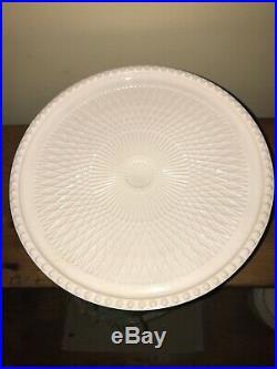 Vintage Jeannette Shell Pink Milk Glass Pedestal Cake Plate Stand Circa 1950