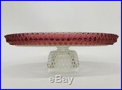 Vintage Kings Crown Cranberry Glass Pedestal Cake Plate Dessert Tray 12