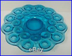 Vintage LE Smith Moon and Stars Aqua Blue Low Pedestal Cake Plate