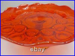 Vintage LE Smith Orange Amberina Moon & Stars Pedestal Cake Stand Pastry Plate