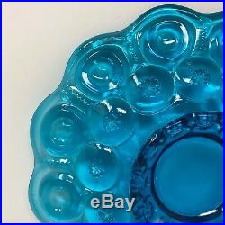 Vintage L. E. Smith Glass Cake Stand Plate Moon & Stars Colonial Blue Pedestal