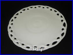 Vintage Lace Cake Plate White Milk Glass Pedestal