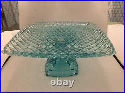 Vintage Large Teal Blue Square Shaped Pedestal Cake Plate Server Pattern
