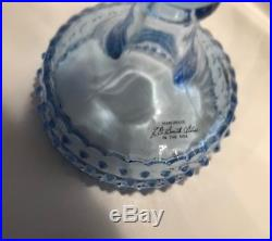 Vintage Le Smith Glass Light Blue Hobnail 3 Pedestal Cake Plates Art Glass