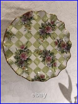 Vintage MACKENZIE CHILDS Sweet Pea Honeymoon Pedestal Ruffled Cake Plate Stand