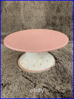 Vintage MAGENTA Pink Polkadot Pedestal Cake Plate Easter Stand Ceramic Dish