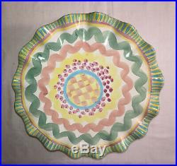 Vintage MacKenzie Childs Taylor Aurora Fluted Cake Plate Pedestal
