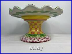 Vintage MacKenzie Childs Taylor Aurora Fluted Cake Plate Pedestal 1989 Retired