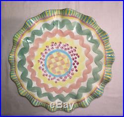 Vintage MacKenzie Childs Taylor Aurora Fluted Cake Plate Pedestal Christmas