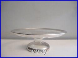 Vintage Midcentury Modern Dorothy Thorpe Silver Band Glass Pedestal Cake Plate