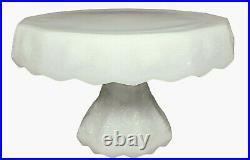 Vintage Milk Glass CAKE STAND Grape Relief Border Pedestal Plate