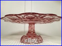 Vintage Moon & Stars Dark Pink Glass CAKE PLATE PEDESTAL STAND L. E. Smith Glass