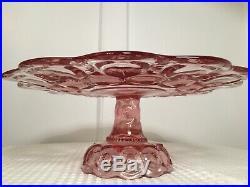 Vintage Moon & Stars Dark Pink Glass CAKE PLATE PEDESTAL STAND L. E. Smith Glass