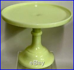 Vintage Mosser Vaseline 10 Butter Cream Yellow Pedestal Cake Stand Footed Plate