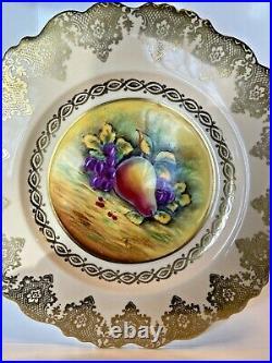 Vintage Paragon Pedestal Cake Plate GOLDEN HARVEST Hand Painted Artist Signed