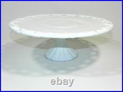 Vintage Pedestal Cake Plate White Milk Glass Lace
