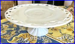 Vintage Pedestal Footed Cake Plate Stand PITMAN DREITZER COLONY Lace Milk Glass