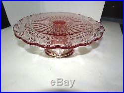 Vintage Pink Depression Glass Scalloped Cake Stand Pedestal Plate Hobnail Daisy