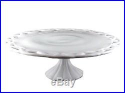 Vintage Pitman Dreitzer Colony 14 Lace Milk Glass Pedestal Cake Plate Stand (S)