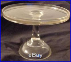 Vintage Pressed Glass Pedestal Cake Plate SIMPLE CLEAN LINES LOVELY PLATE