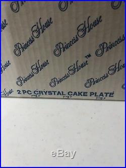 Vintage Princess House Heritage Crystal Pedestal Cake Plate #076 Nib
