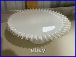 Vintage RARE Fenton White Ruffled Silver Crest Pedestal Cake Plate Stand 12.75