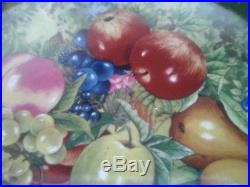 Vintage ROCHARD LIMOGES Still Life Fruit Pedestal Cake Plate Stand Mint