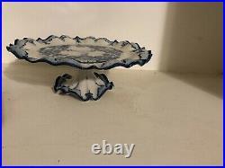 Vintage Rare Delft Blue Cake Plate Pedestal
