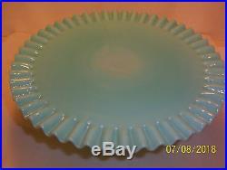 Vintage Rare Fenton Turquoise Hobnail Pedestal Cake Plate Stand & Candleholders