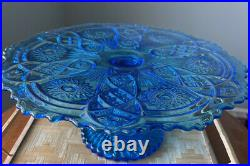 Vintage Rare Imperial Colbolt Blue Glass NuCut Pedestal Cake Plate 13